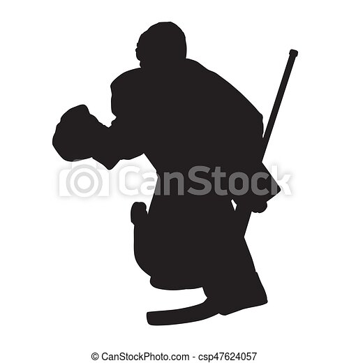 Moving Ice Hockey Goalie Vector Silhouette