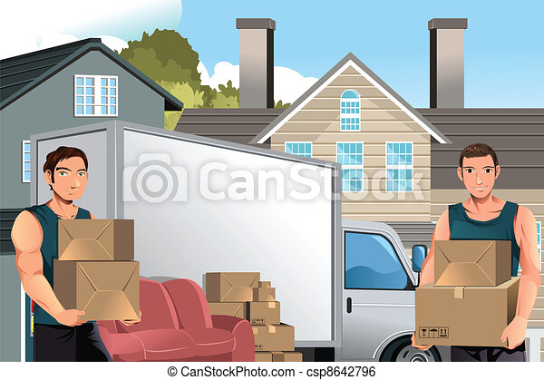 Moving men with truck and boxes - csp8642796