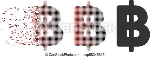 Moving Pixel Halftone Thai Baht Icon - csp58345615