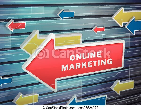 moving red arrow of online marketing words - csp26524973