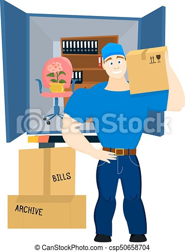 Moving Service Guy With Furniture And Truck Vector Illustration