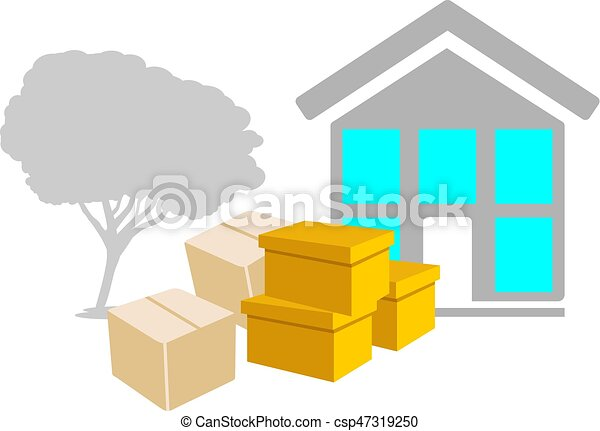 Moving to a new house. Icon - csp47319250