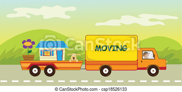 Moving Truck and Trailer - csp18526133