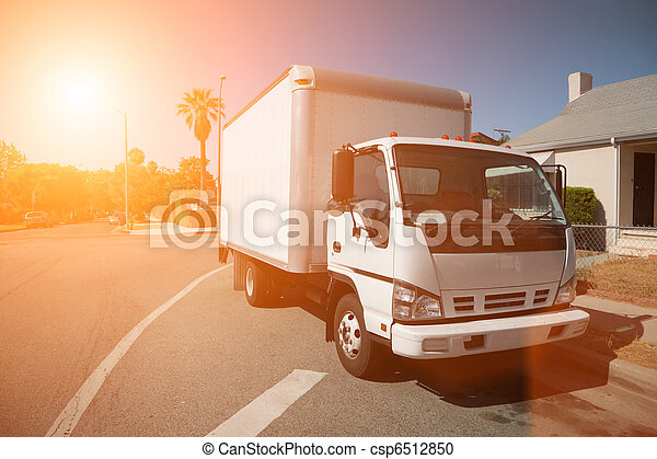 Moving truck on street - csp6512850