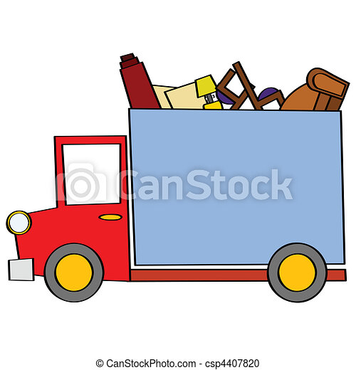 moving truck cartoon illustration of a moving truck carrying some rh canstockphoto com