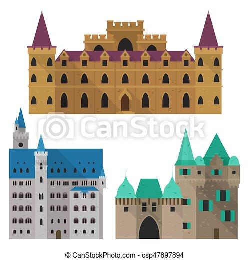 Moyen âge Citadelle Ou Devant Château Fort Dessin Animé Vue
