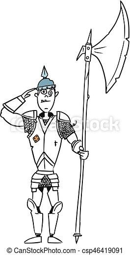 Moyen âge Fantasme Chevalier Soldat Garde Vecteur Dessin Animé
