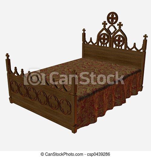 moyen ge lit render 3d. Black Bedroom Furniture Sets. Home Design Ideas