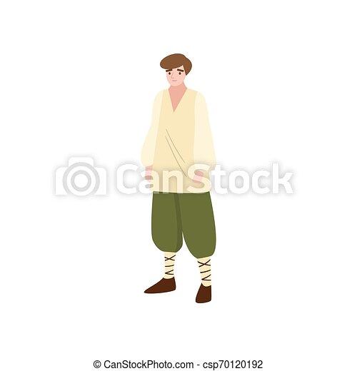 moyen-âge, simple, conte, vert, fée, plowman, pantalon - csp70120192