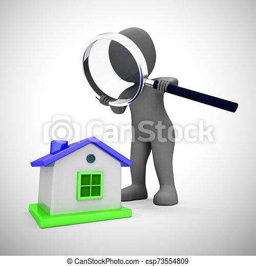 moyens, propriété, recherche, achat, concept, propriété, maison, -, regarder, 3d, illustration - csp73554809