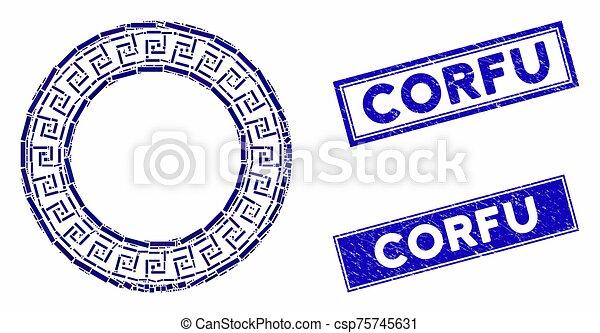 mozaika, okrągły, grunge, prostokąt, ułożyć, grek, pieczęcie, corfu, klasyk - csp75745631