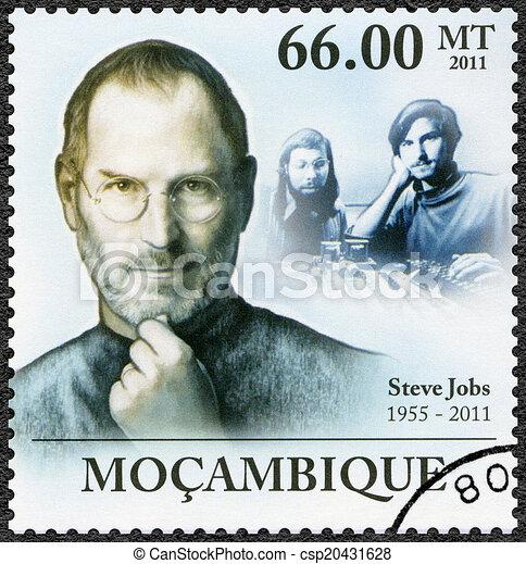 MOZAMBIQUE - 2011: shows portrait of Steve Jobs (1955-2011) - csp20431628