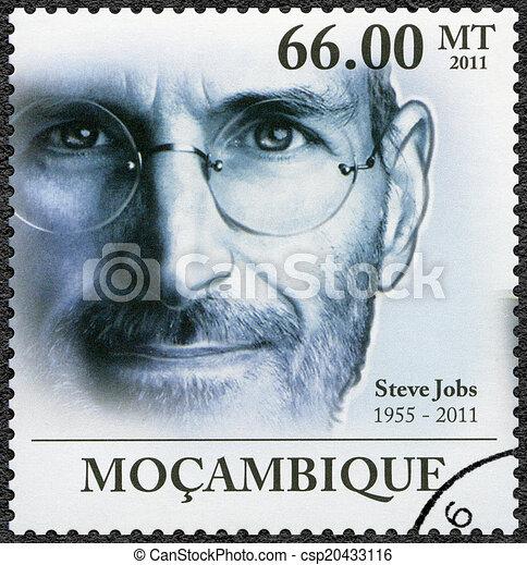 MOZAMBIQUE - 2011: shows portrait of Steve Jobs (1955-2011) - csp20433116
