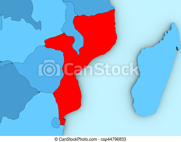Mozambique on 3d map country of mozambique highlighted in mozambique on 3d map stock illustration sciox Choice Image