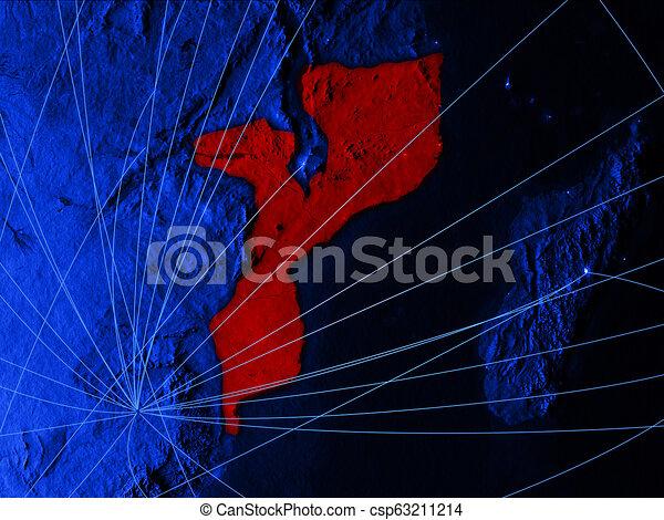 Mozambique on blue blue digital map - csp63211214