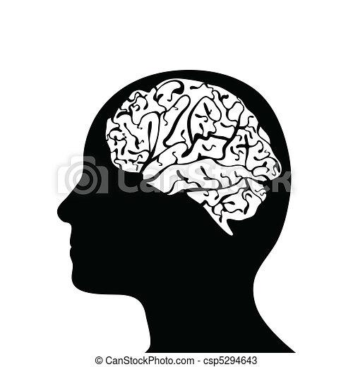 mozek, hlavička, silhouetted - csp5294643