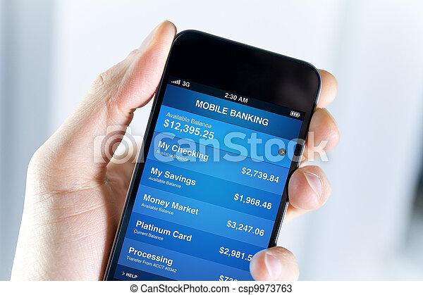 mozgatható, bankügylet, smartphone - csp9973763