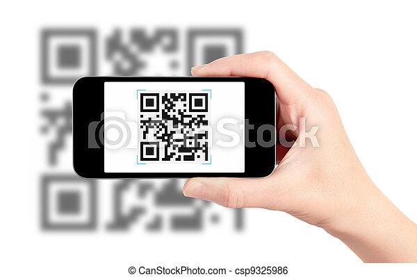 mozgatható, letapogatás, kód, qr, telefon - csp9325986