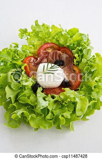 Mozzarella, Prosciutto salad - csp11487428