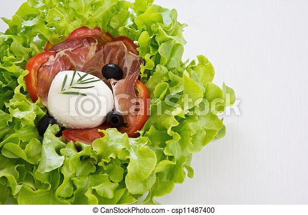 Mozzarella, Prosciutto salad - csp11487400