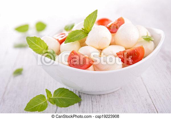 mozzarella salad with tomato and basil - csp19223908