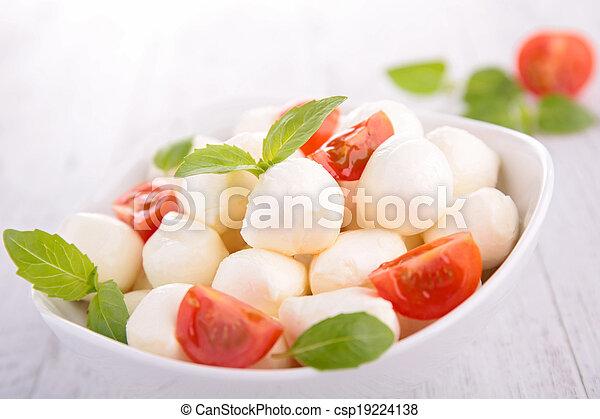 mozzarella salad with tomato and basil - csp19224138