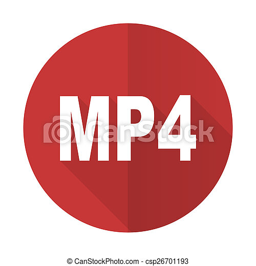 mp4 red flat icon - csp26701193