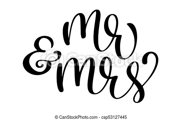 mr and mrs text on white background hand drawn calligraphy wedding