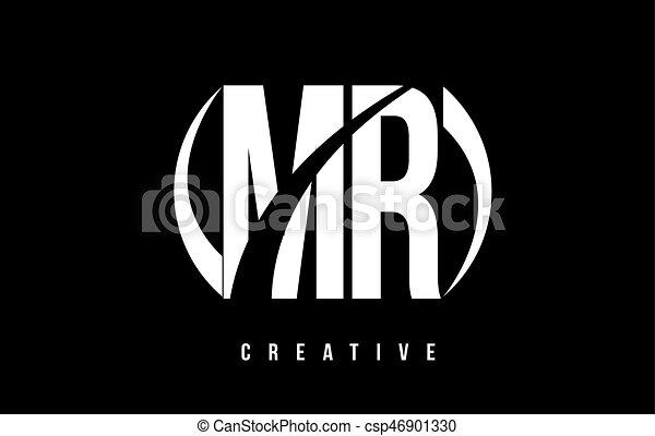 Mr M R White Letter Logo Design With Black Background Mr M R White