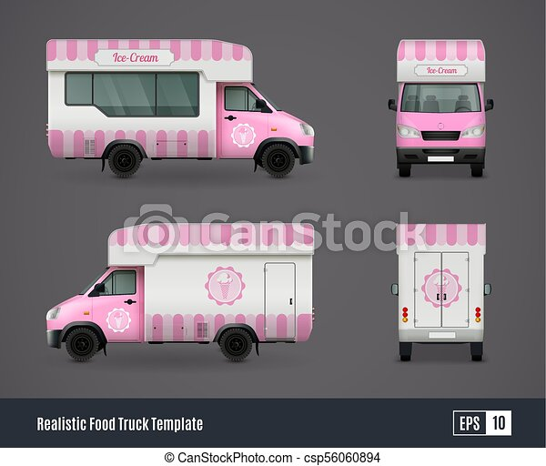mr whippy van design food trucks realistic ad template design