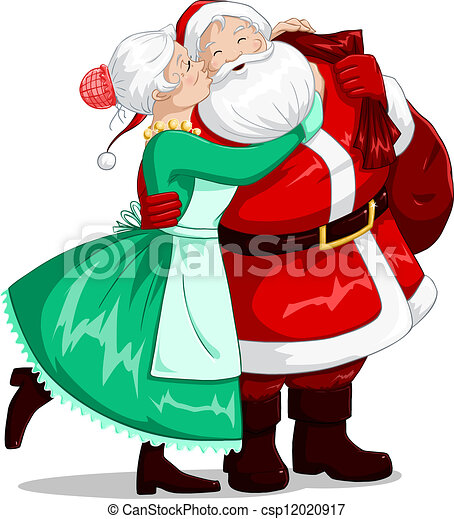 Mrs Claus Kisses Santa On Cheek And Hugs - csp12020917