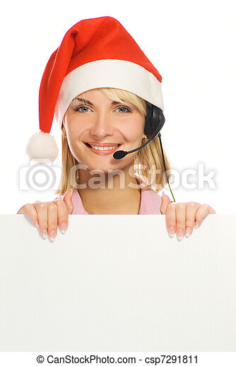 Mrs. Santa with a headset and white noticeboard isolated on white background - csp7291811