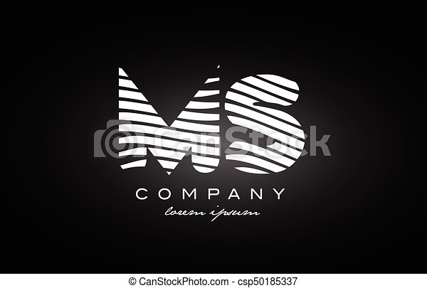 MS M S letter alphabet logo black white icon design