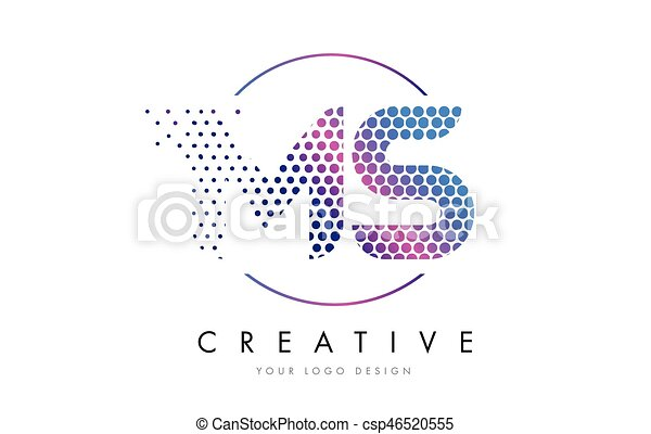 MS M S Pink Magenta Dotted Bubble Letter Logo Design Vector