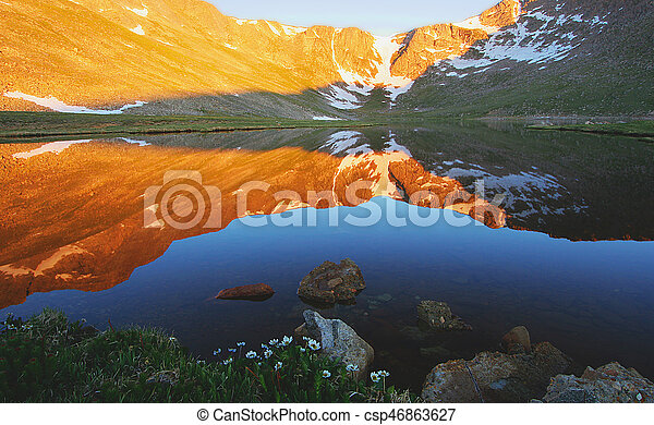 Mt. Evans reflected in Summit Lake - csp46863627