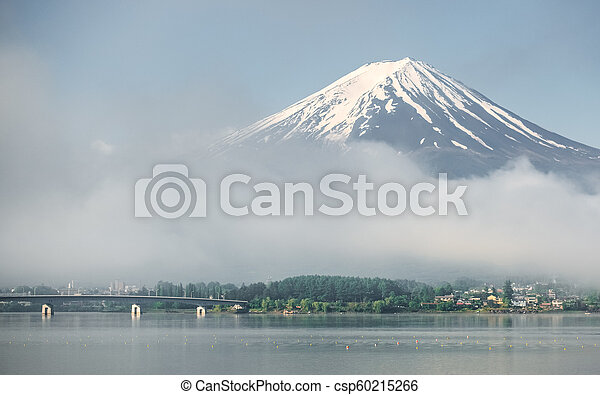 Mt. Fuji view from shore of Kawaguchiko lake - csp60215266