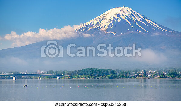 Mt. Fuji view from shore of Kawaguchiko lake - csp60215268