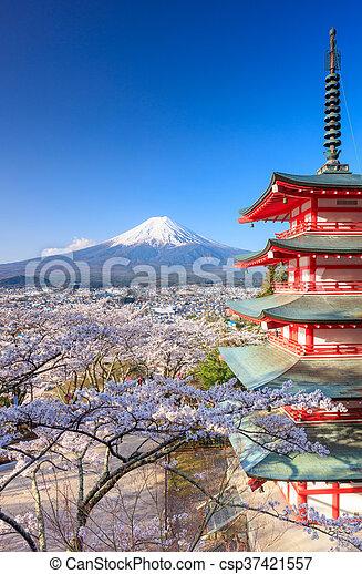 Mt. Fuji with Chureito Pagoda, Fujiyoshida, Japan - csp37421557