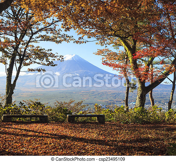 Mt. Fuji with fall colors in Japan - csp23495109