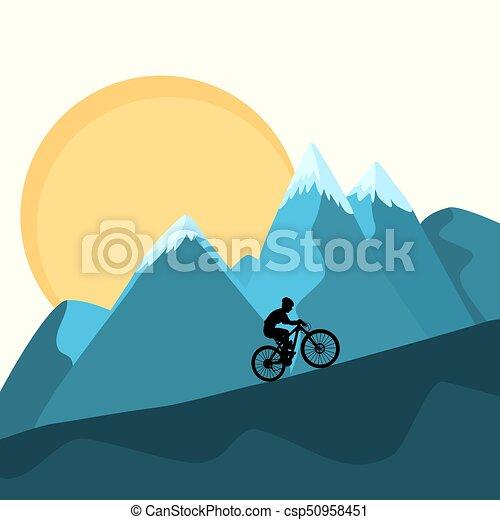 MTB female rider on mountains sunset background - csp50958451