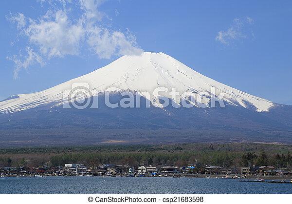 Mt.Fuji at Lake Yamanaka, Japan - csp21683598
