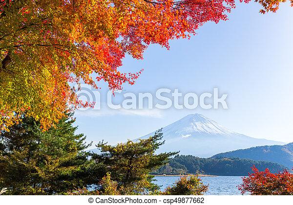 Mt.Fuji in autumn at Lake kawaguchiko in japan - csp49877662