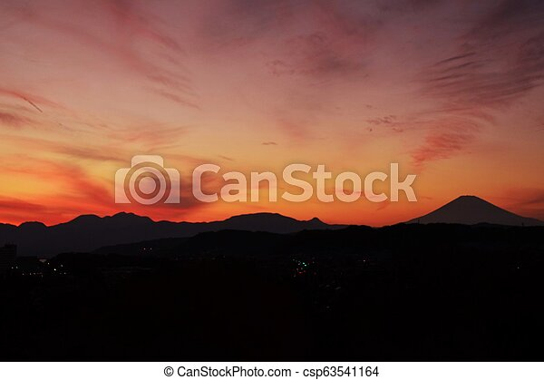 Mt.Fuji silhouette of the setting sun - csp63541164