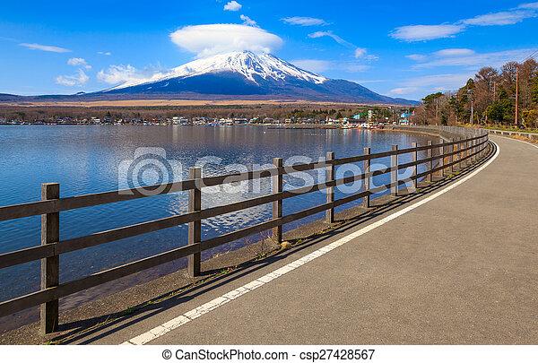 Mt.Fuji with Lake Yamanaka, Yamanashi, Japan - csp27428567