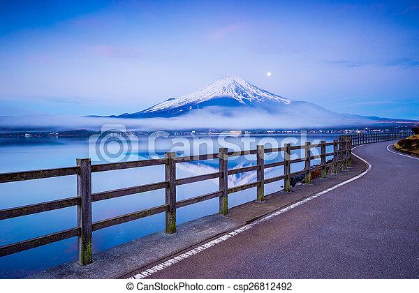 Mt.Fuji with Lake Yamanaka, Yamanashi, Japan - csp26812492