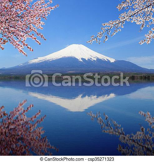 Mt.Fuji with water reflection at Lake Yamanaka, Japan - csp35271323