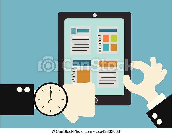 Hombre de negocios controlando el tiempo mirando el reloj en la muñeca, el concepto de negocios sobre comprobar - csp43332863
