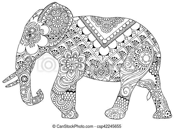 m u00f8nstre  indisk elefant firmanavnet  silhuet  mal ornaments vector illustration ornaments vector free download