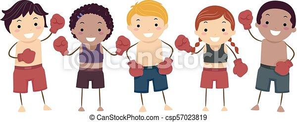muay, タイ人, 子供, stickman, イラスト - csp57023819