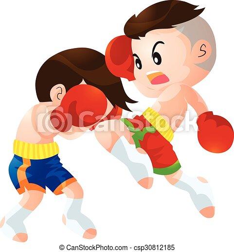 Muaythai Cute Thai Boxing Kids Fighting Actions Knee Over Strike